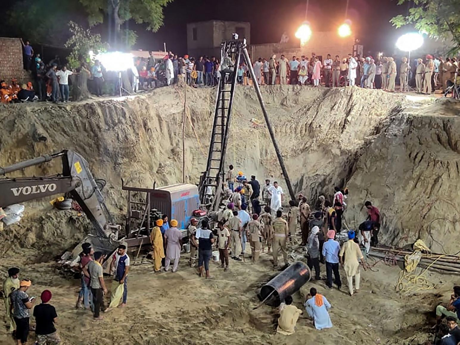 Toddler dies after being trapped down 150ft well in India for four days