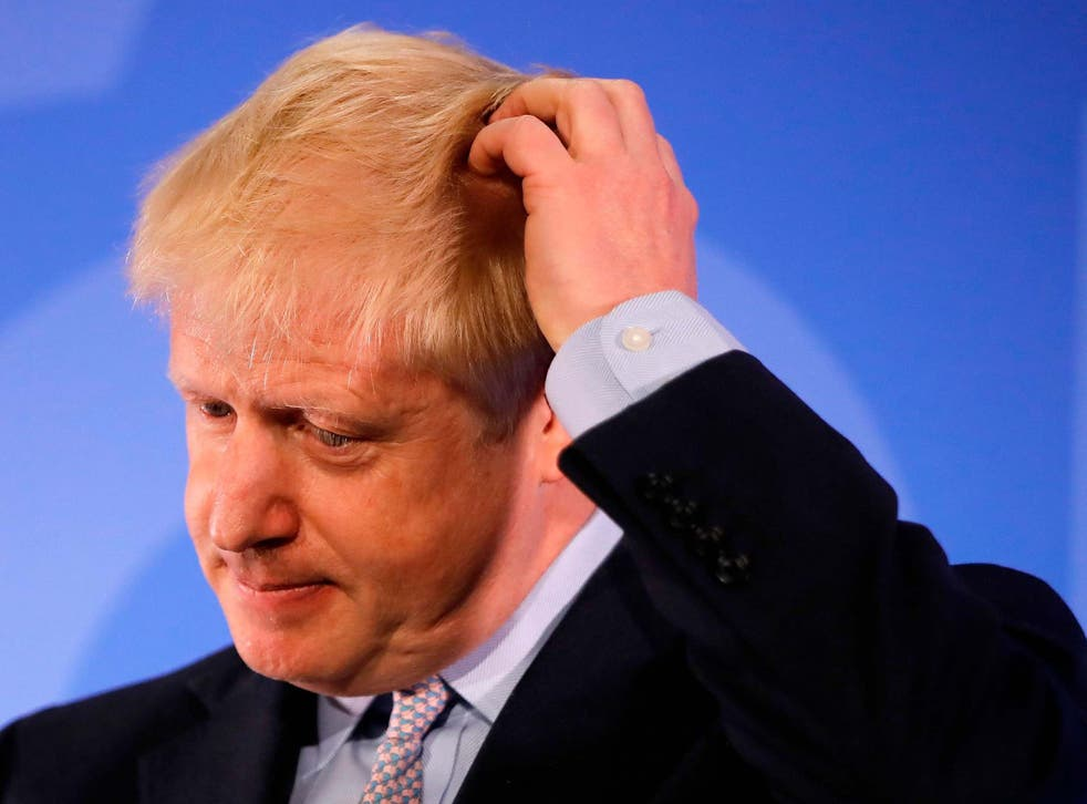Conservative MP Boris Johnson takes a moment during his Conservative Party leadership campaign launch