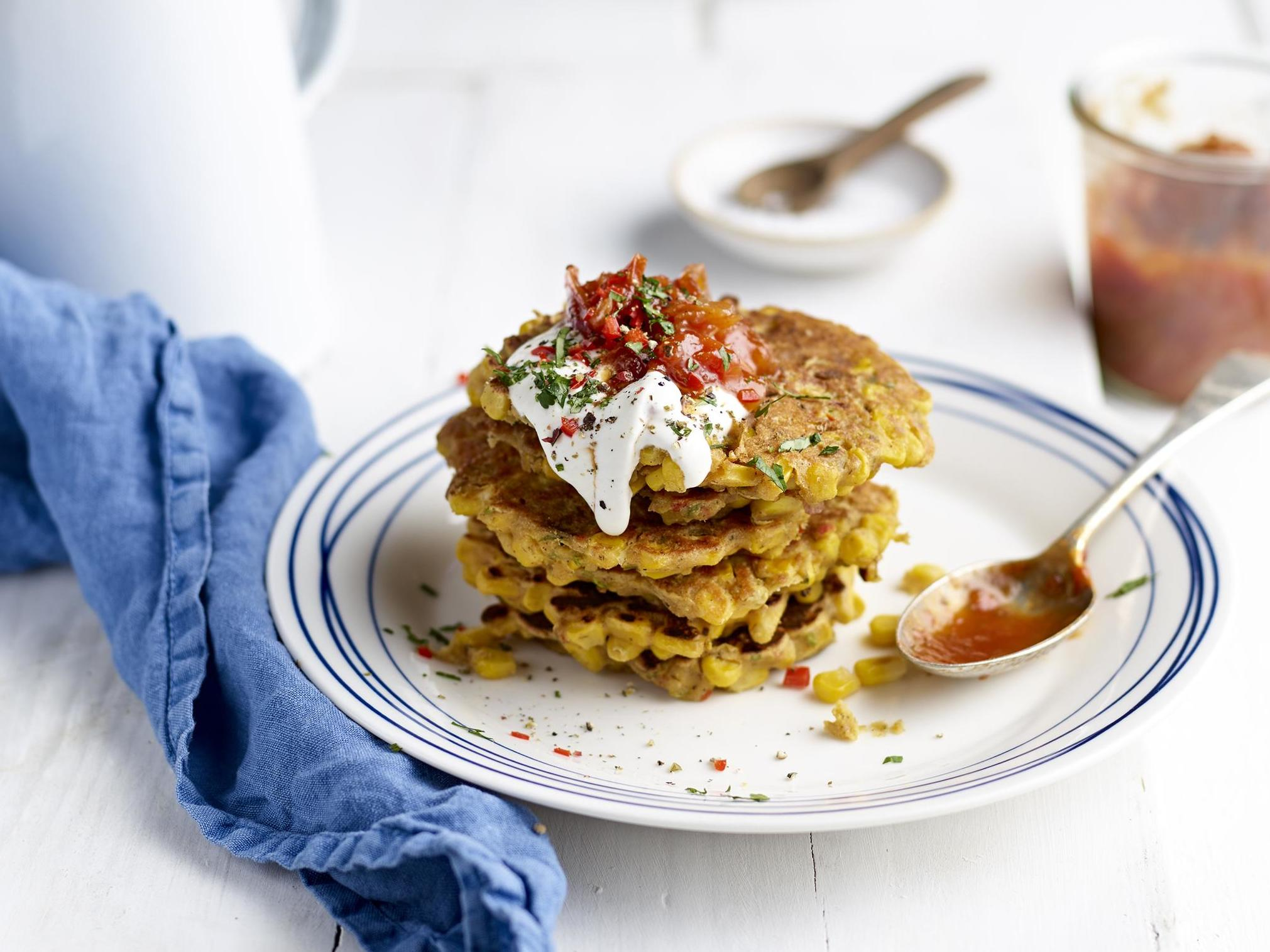How to make sweetcorn, shallot and chilli fritters with tomato and shallot chutney 1