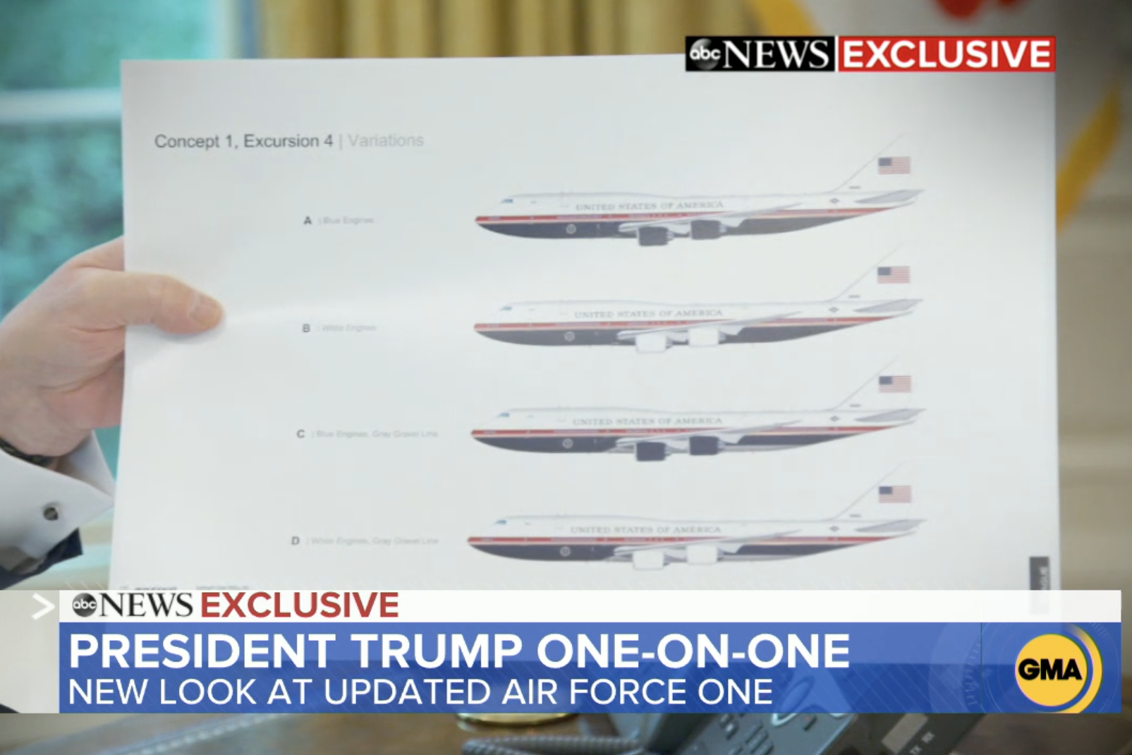 Trump Shares First Photos Of Air Force One Redesign Mock Ups The