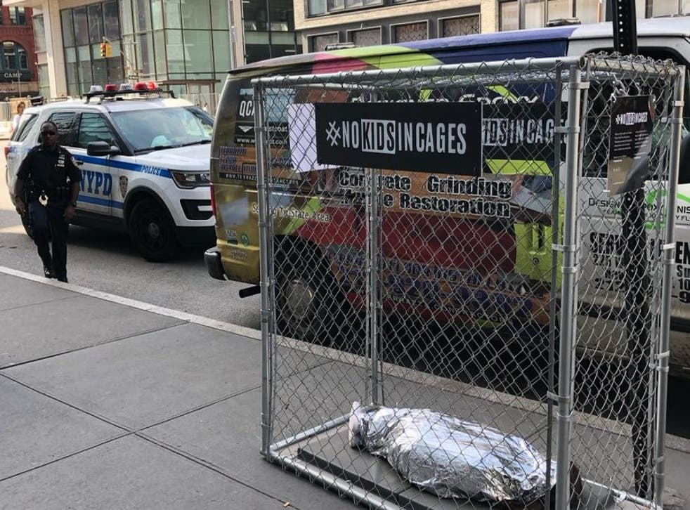 An image of one of the art installations by No Kids In Cages across New York City on Wednesday.
