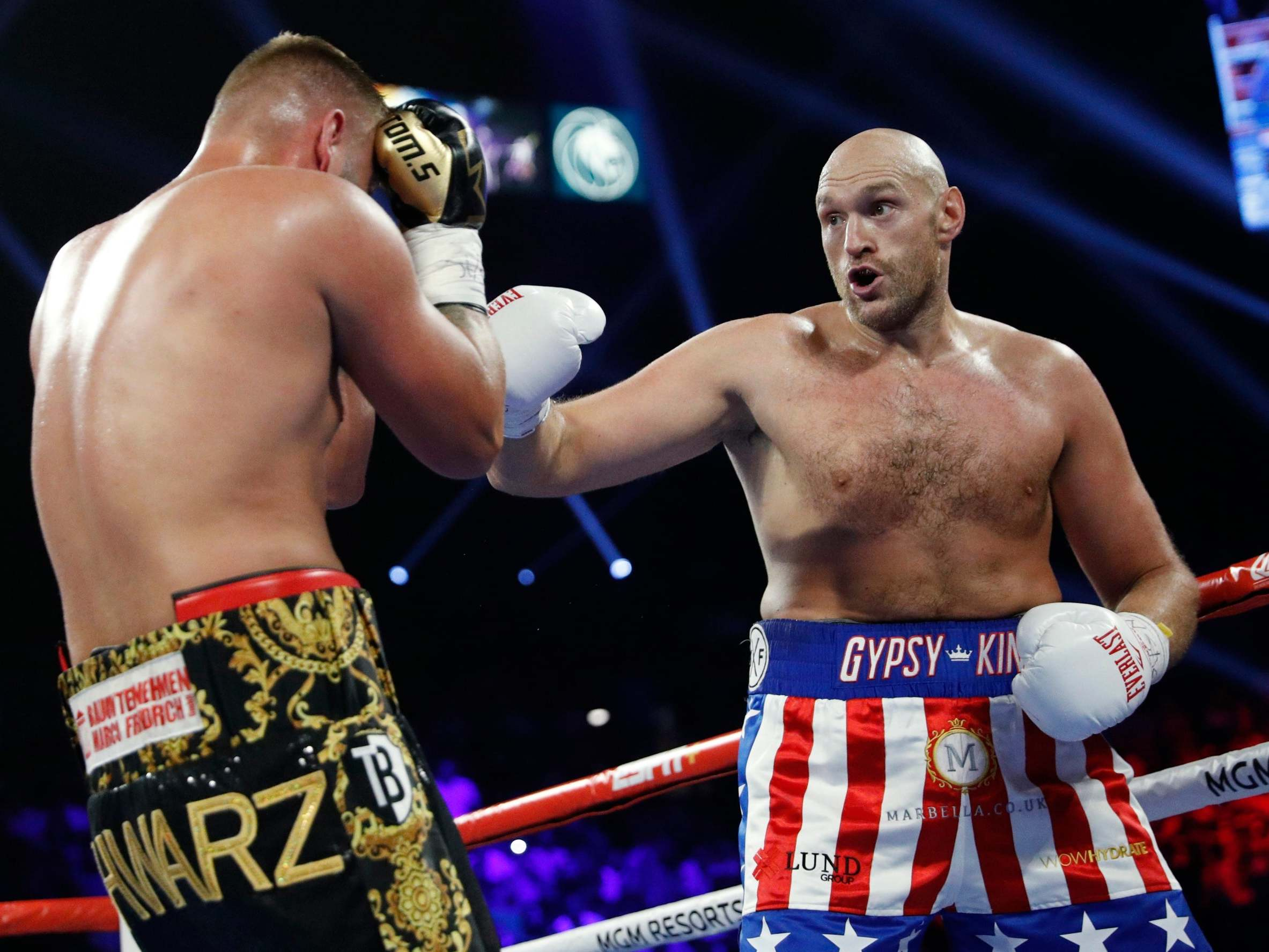 Tyson Fury vs Tom Schwarz result: Lineal heavyweight champion stops German in second round in Las Vegas