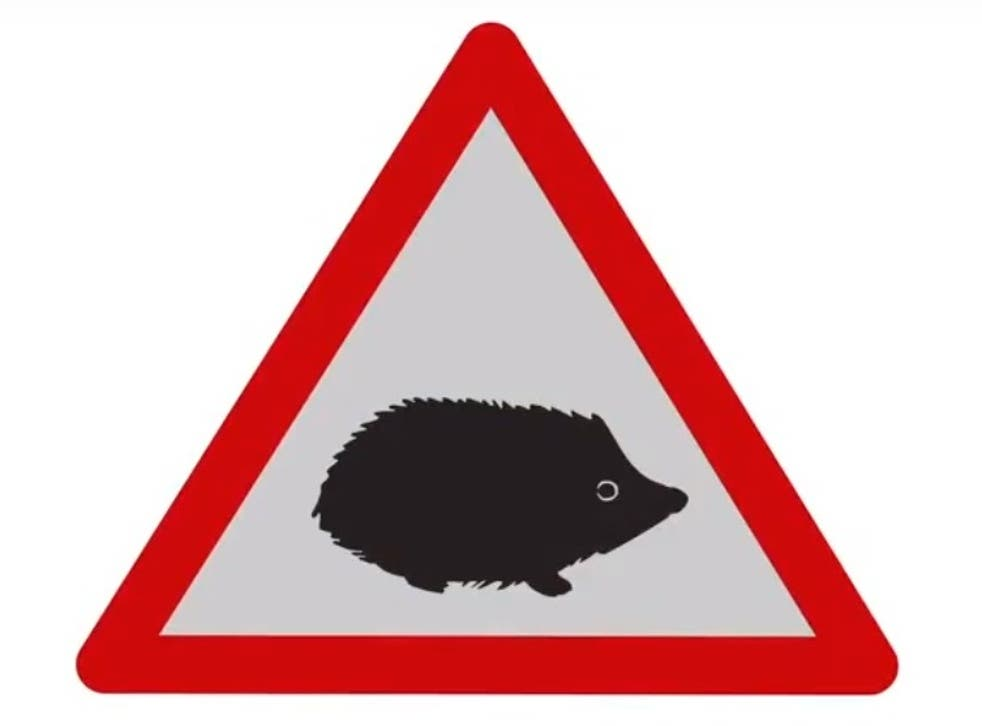 The new hedgehog road sign will warn motorists of hazards involving small animals