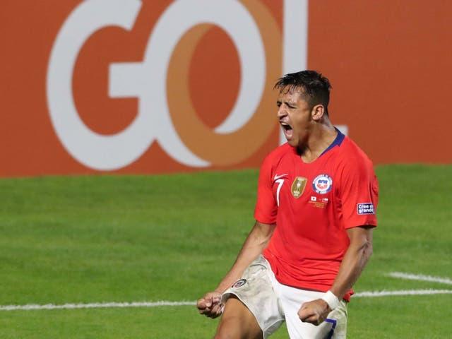 Alexis Sanchez celebrates scoring in Chile's Copa America rout of Japan