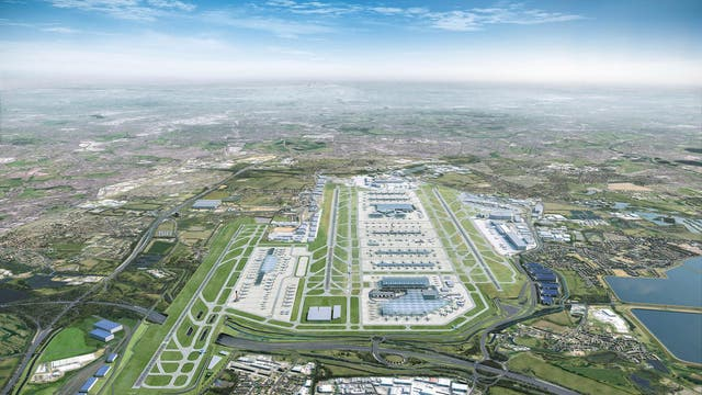 Artist's impression of Heathrow Airport with the third runway (L)