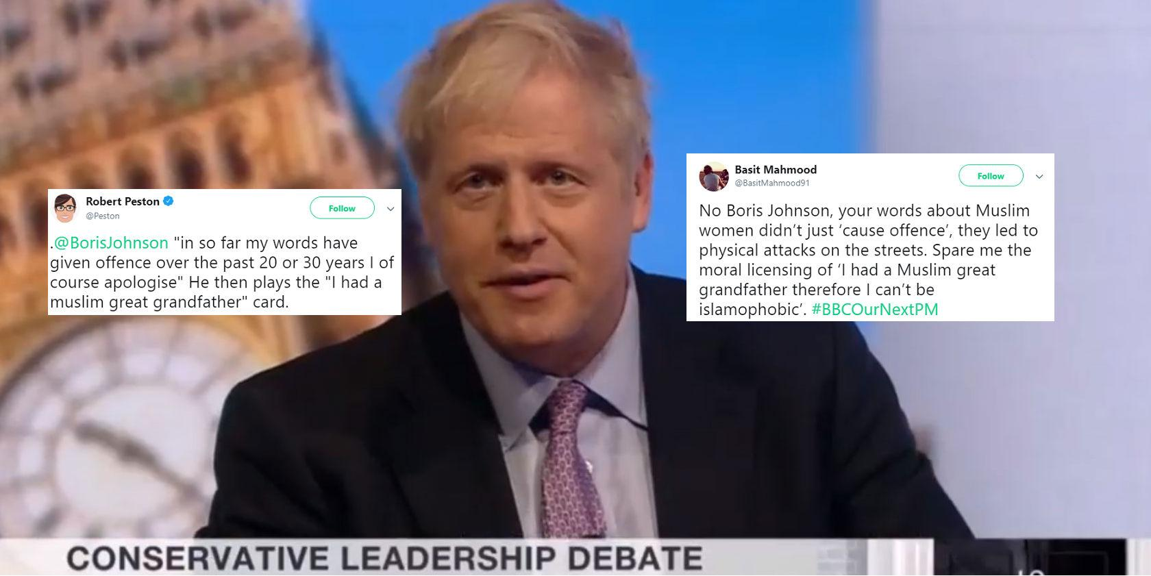 Tory leadership debate: Boris Johnson's gave worst excuse