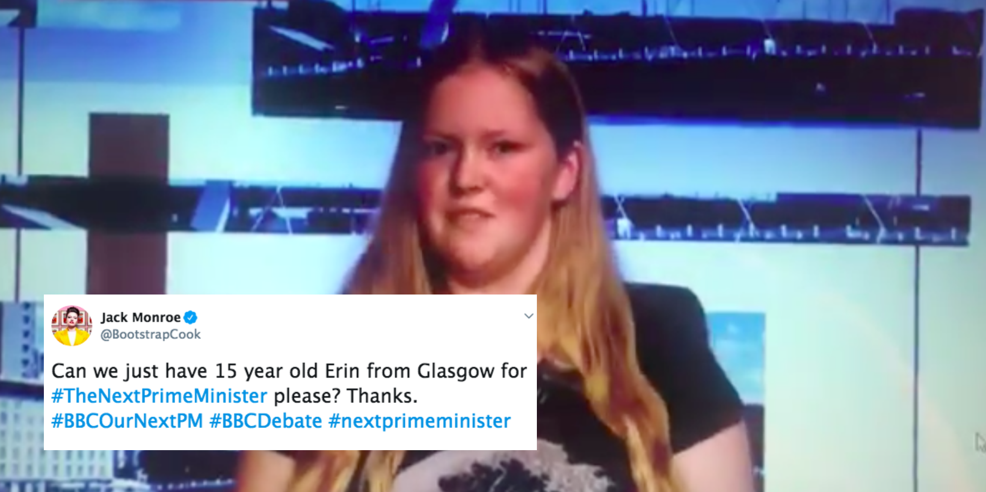 A 15-year-old from Glasgow rinsed all five candidates to be Tory leader and it's perfect