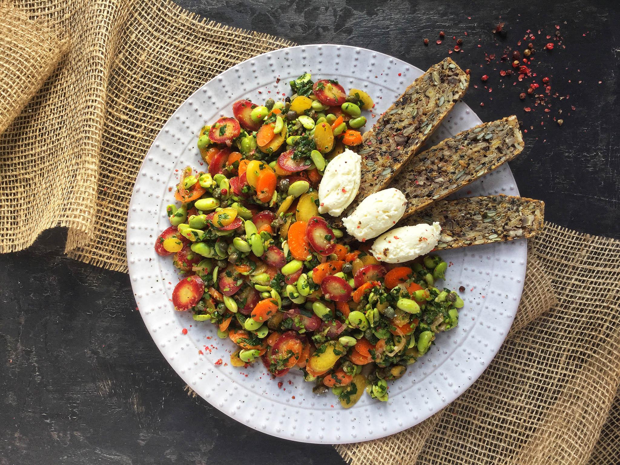 How to make carrot and edamame bean salad 1