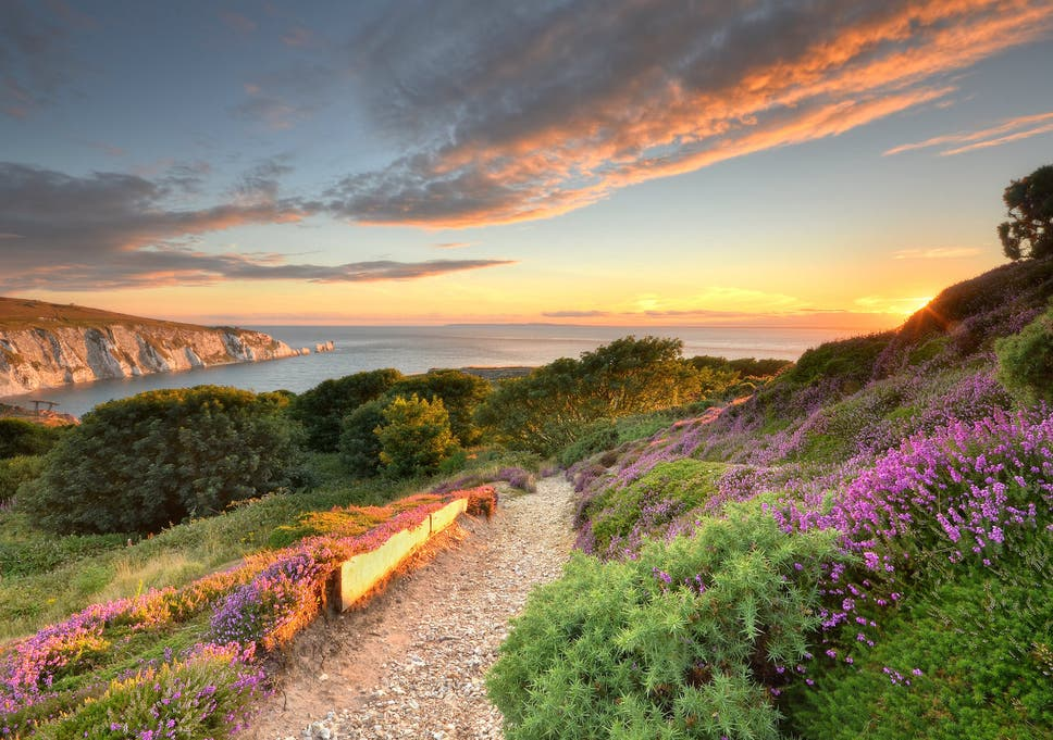 isle of wight during sunset