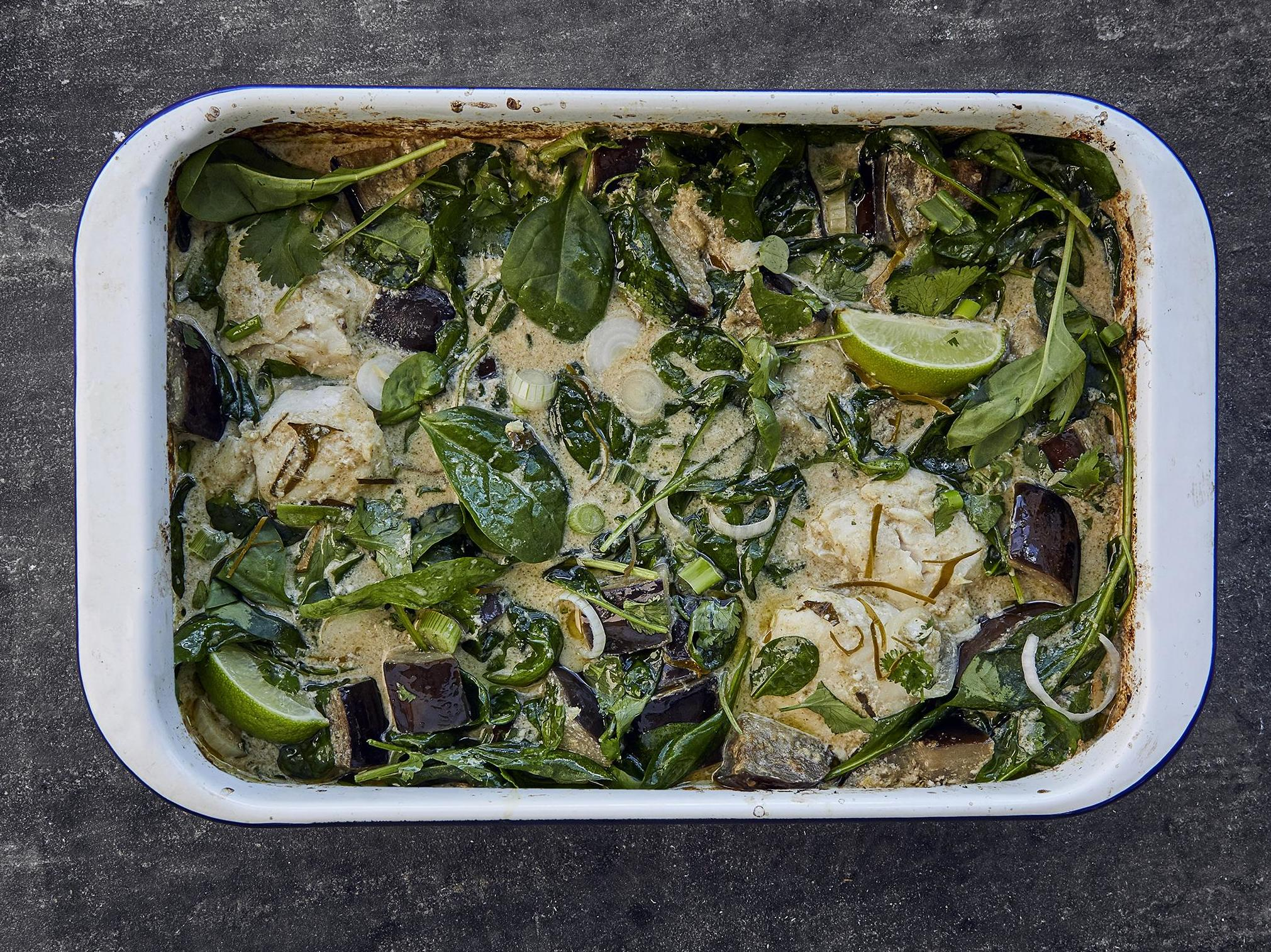 How to make a Thai green fish curry bake 1