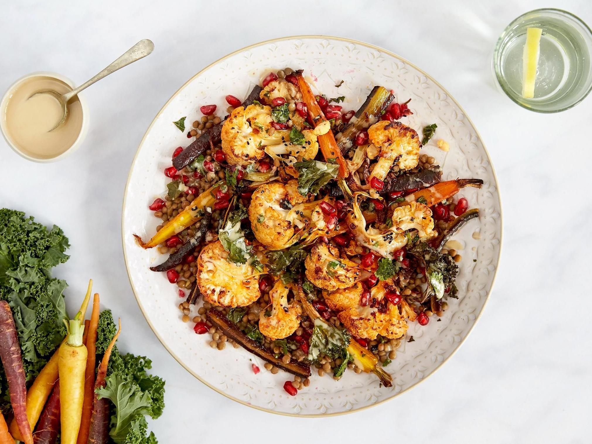 How to make harissa cauliflower with herby lentils and tahini 1