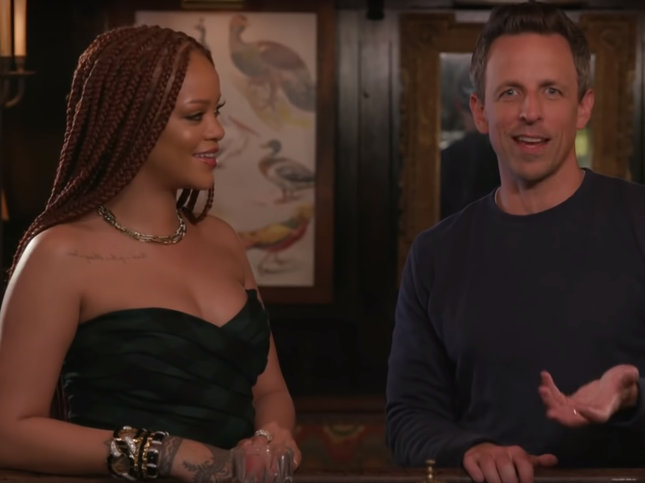 Rihanna gives Seth Meyers advice on how to 'blow his wife away' on a…