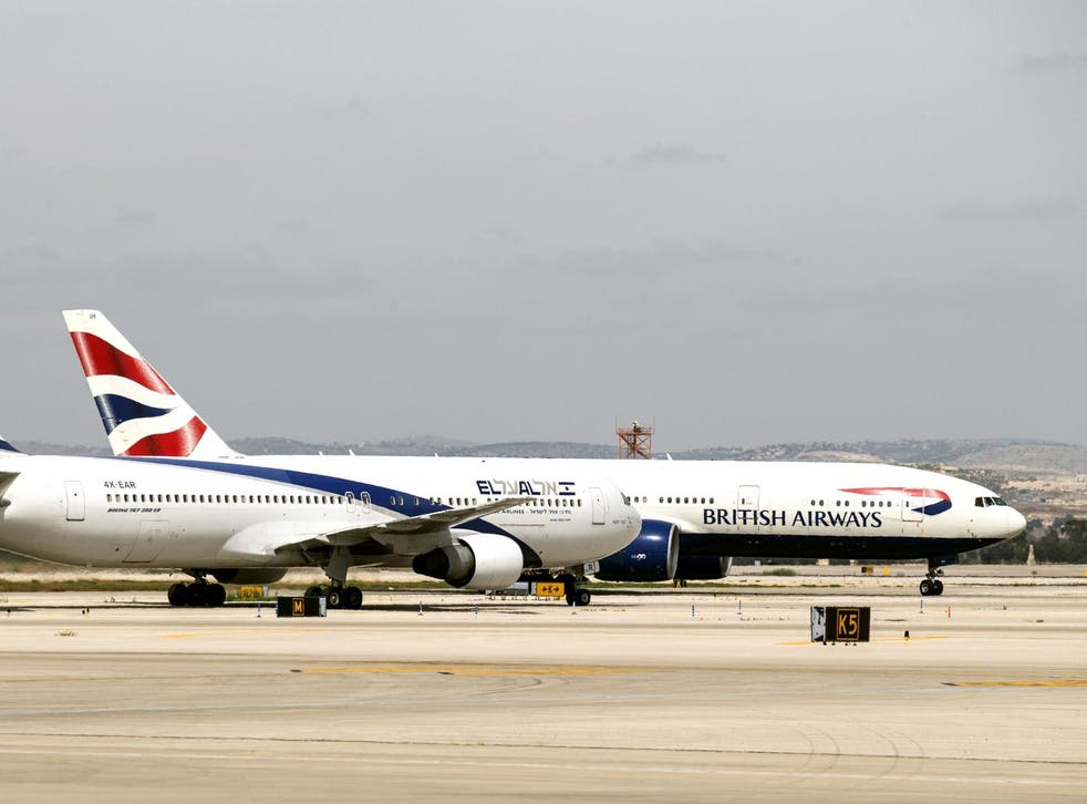 A British Airways plane at Israel's Ben Gurion International Airport, where 18 UK men were thrown off a flight over an alleged bomb threat
