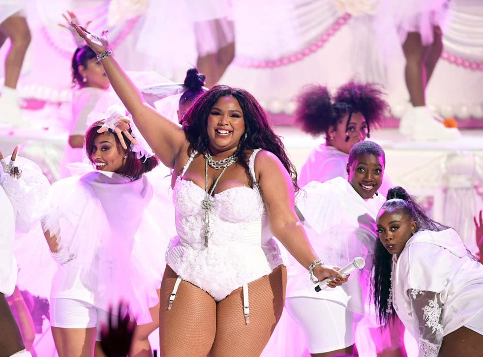 Lizzo performs onstage at the 2019 BET Awards
