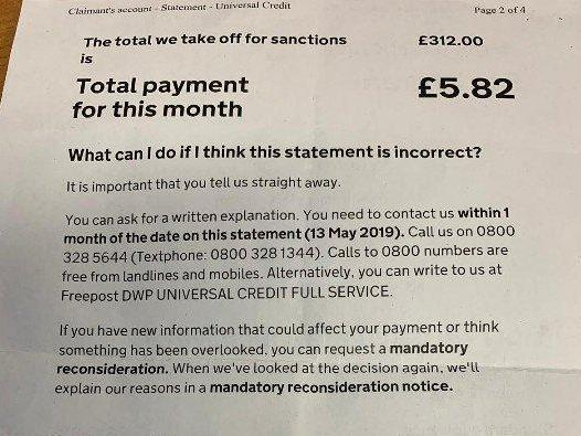 Mentally ill universal credit claimant receives less than £6 for month after £312 deducted for sanctions