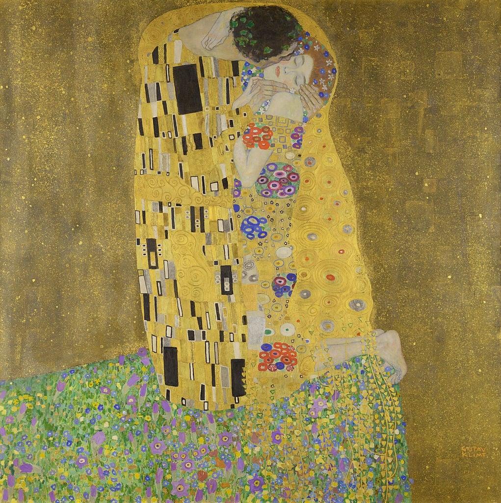Gustav Klimt's The Kiss (1907-1908) at the Österreichische Galerie Belvedere, Vienna