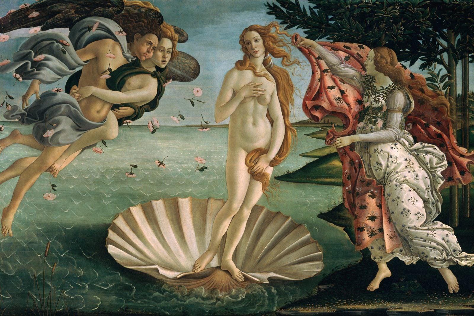 Sandro Botticelli's The Birth of Venus (1485-1486) at the Uffizi Gallery, Florence