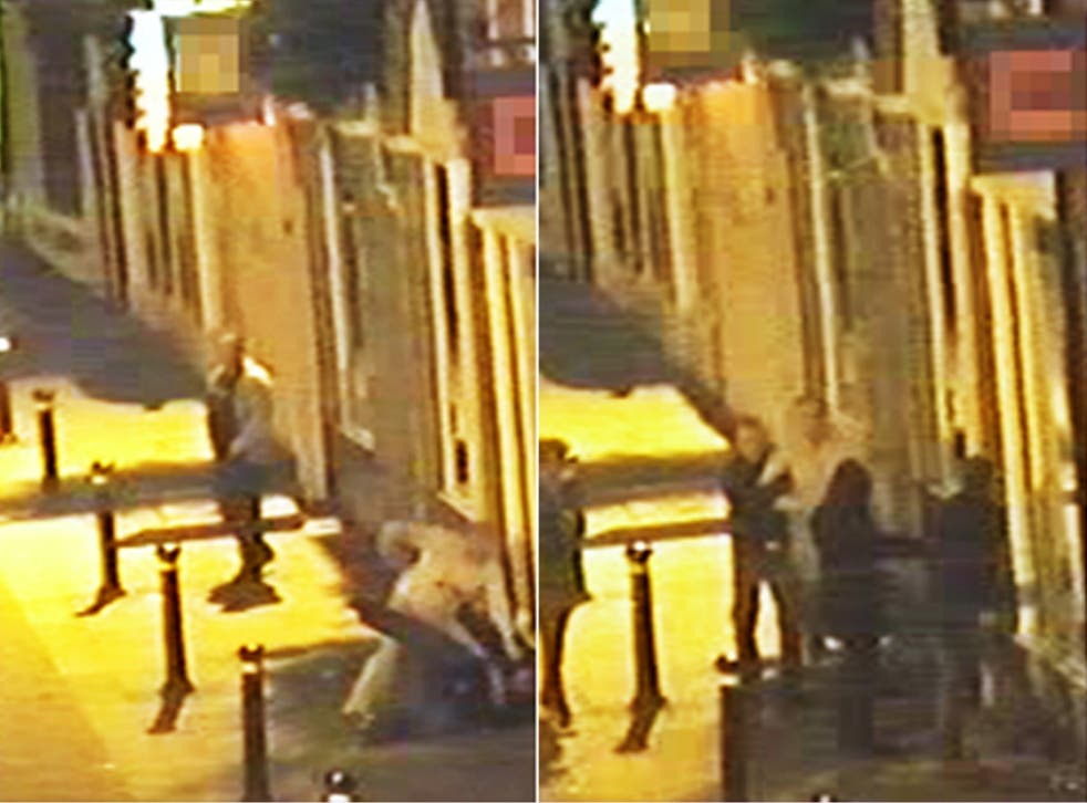 CCTV images showing a woman intervening in a city-centre fight