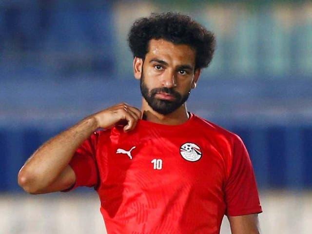Egypt's Mohamed Salah takes part in a training session