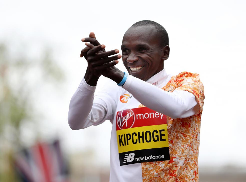 The 34-year-old celebrates after crossing the line at the London Marathon in April