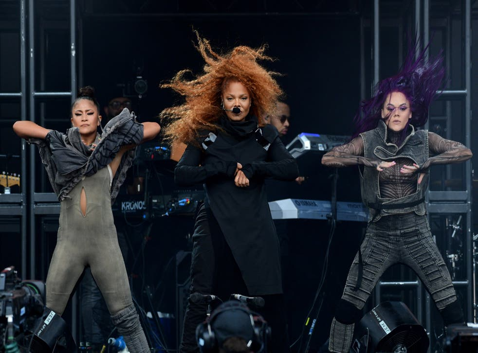 Janet Jackson performs on the Pyramid Stage on day four of Glastonbury Festival at Worthy Farm