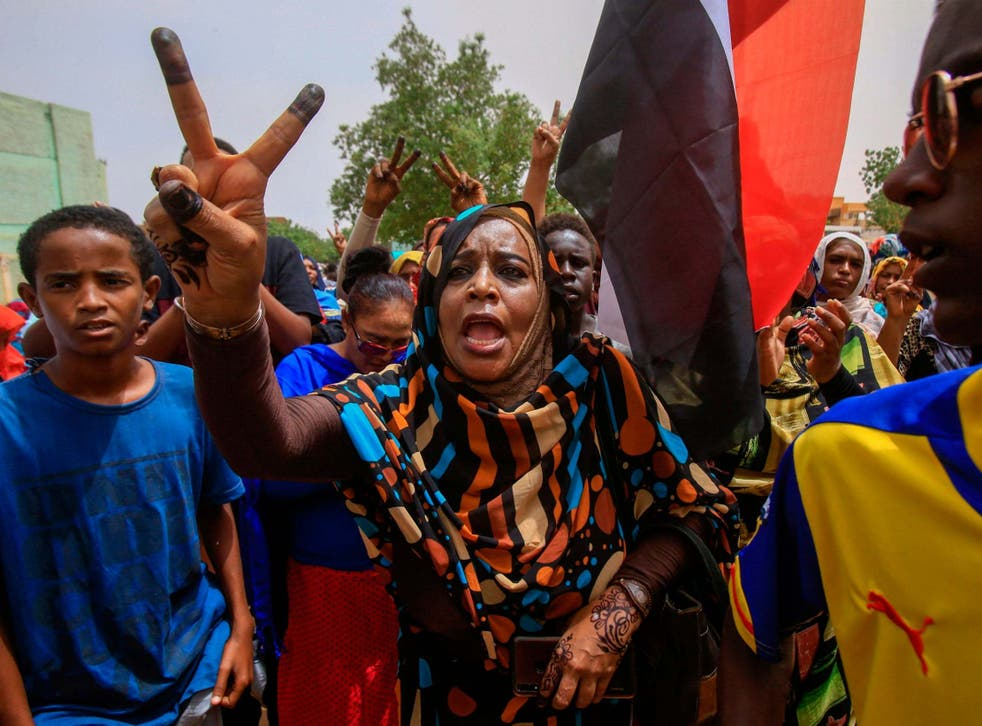 Protesters at mass demonstration in Khartoum against the ruling generals on June 30