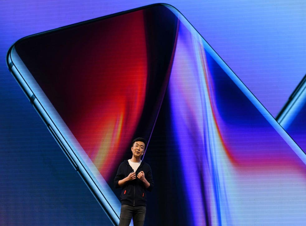 Co-founder and director of the Chinese smartphone maker OnePlus, Carl Pei gestures as he speaks on stage during the launch of their latest OnePlus 7 and the OnePlus 7 Pro