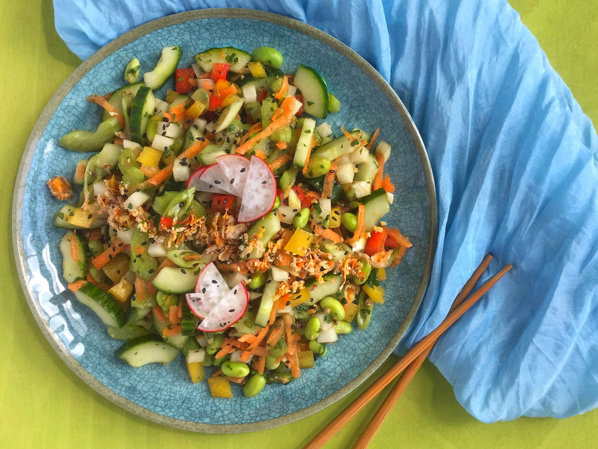 How to make cucumber salad with ginger sesame dressing 1