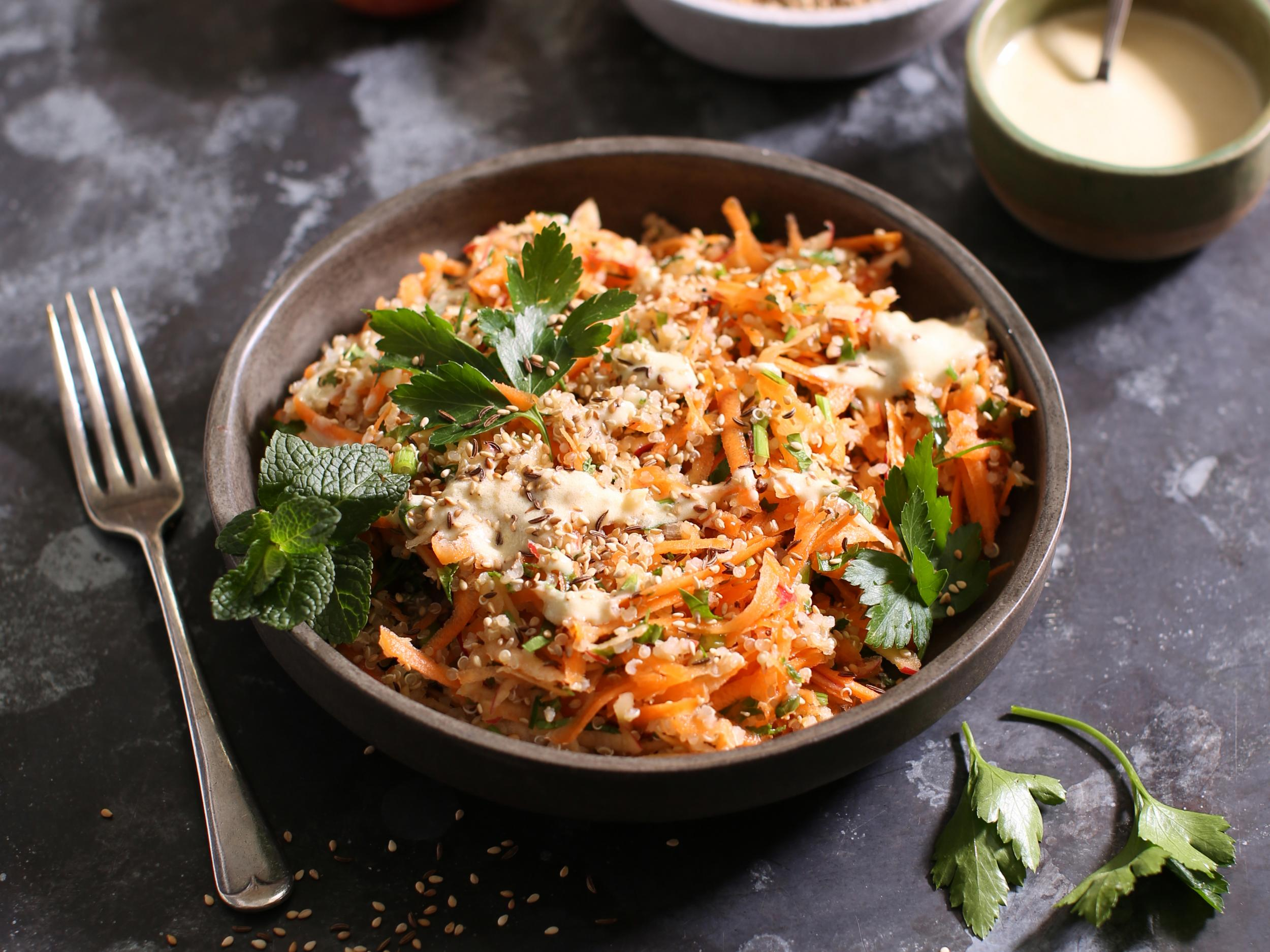 How to make tahini carrot and seed slaw 1