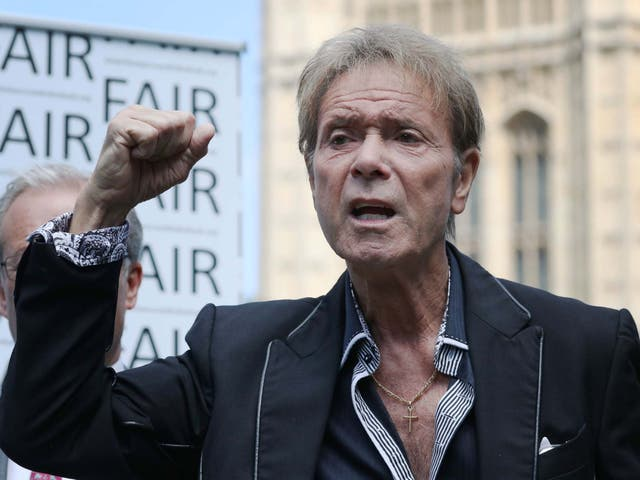 Sir Cliff Richard speaks at an event in Westminster, London, to launch a campaign for a ban on naming sexual crime suspects unless they are charged
