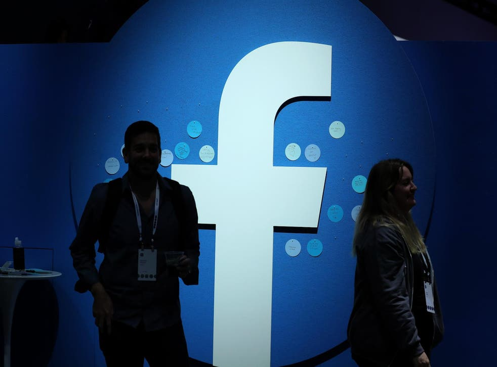 The Facebook logo is displayed during the F8 Facebook Developers conference on April 30, 2019 in San Jose, California