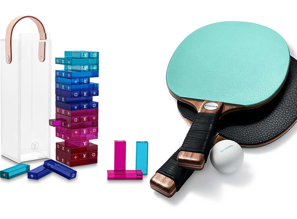 The Louis Vuitton 'Monogram Tower' set and the Tiffany and Co table tennis paddles