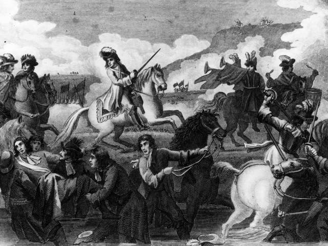 William of Orange claiming the throne of England by defeating James II at the Battle of the Boyne who fled to France on 1 July 1690