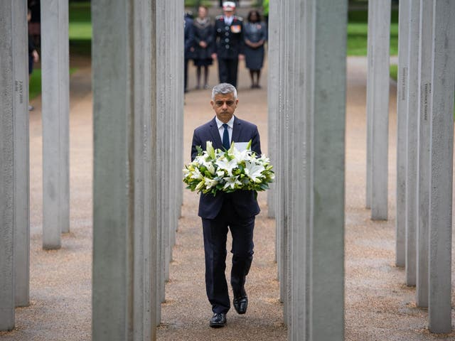 The Muslim mayor laid a wreath at a memorial event in the capital