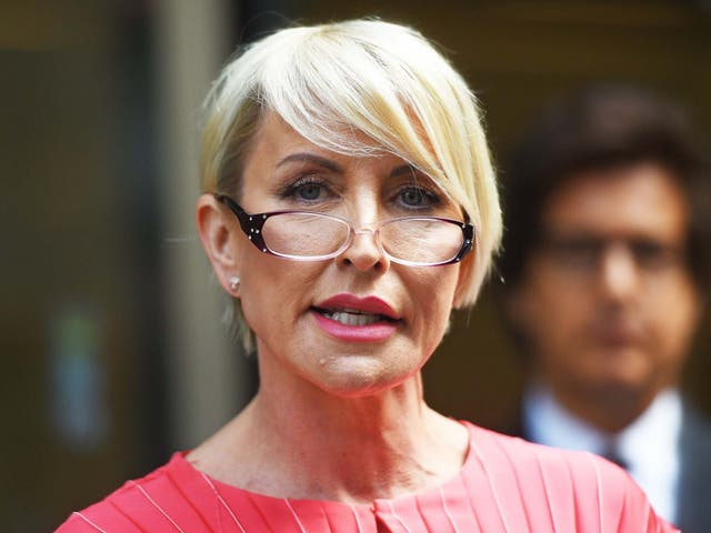 Heather Mills speaks outside the Rolls Building in London after receiving a public apology at the High Court on 8 July
