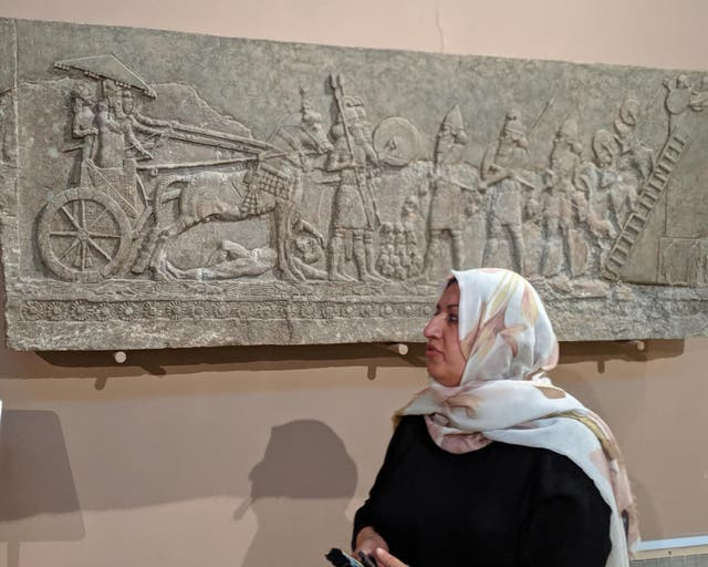 Wafaa Hassan, head of the recovery department at the National Museum in Baghdad, Iraq