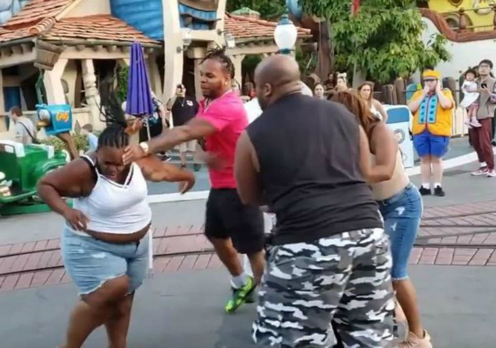 0dedc3780 Disneyland fight: Police investigate mass family brawl filmed in ...