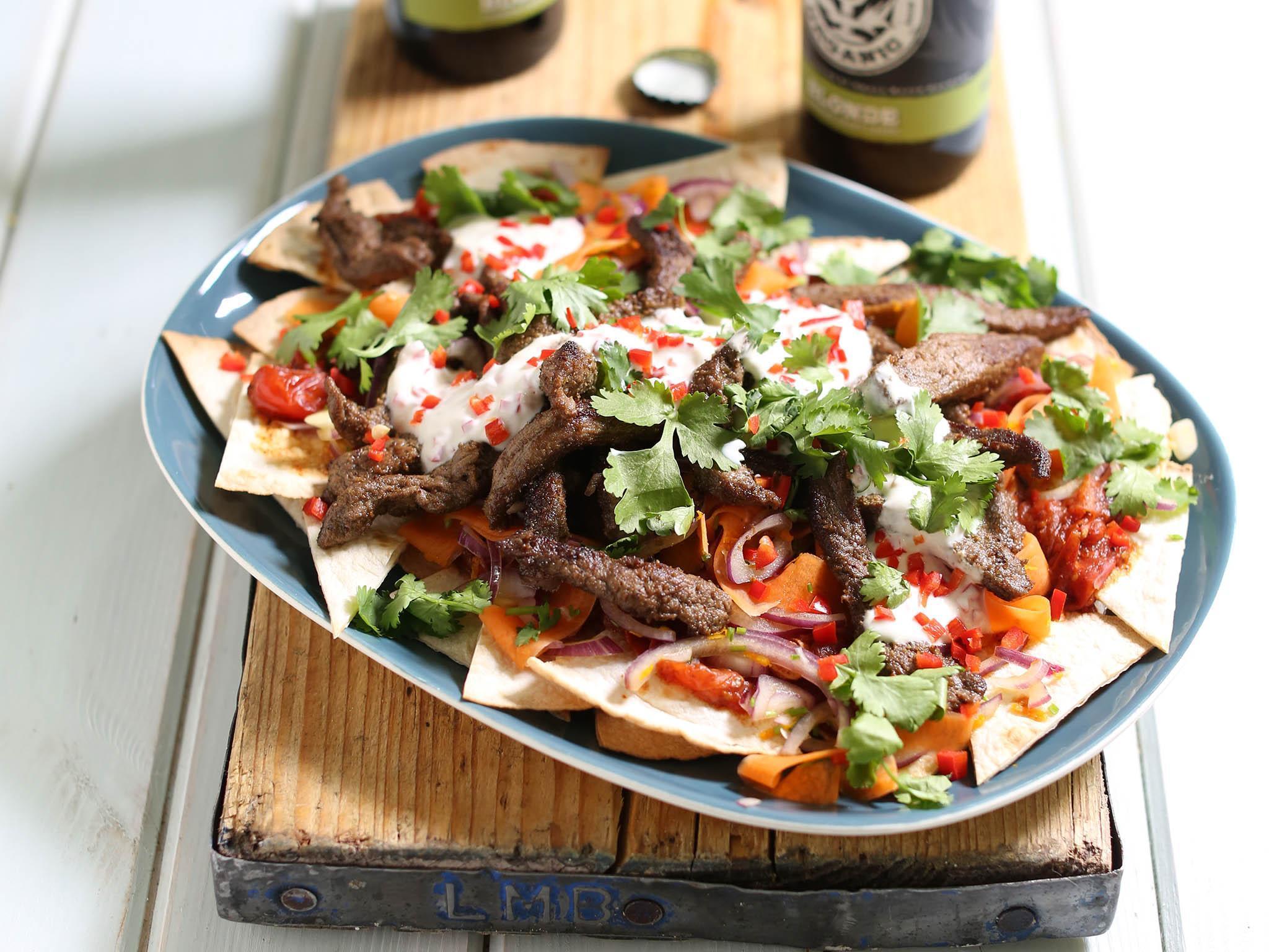 How to make Beef nachos with chilli yoghurt