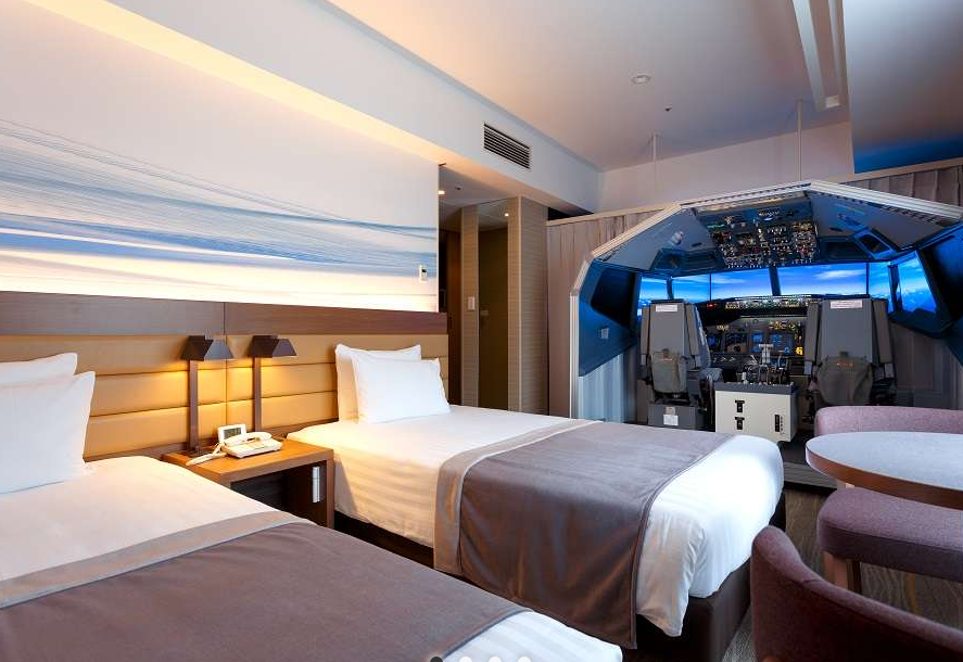 Japanese hotel opens room with flight simulator for aviation geeks