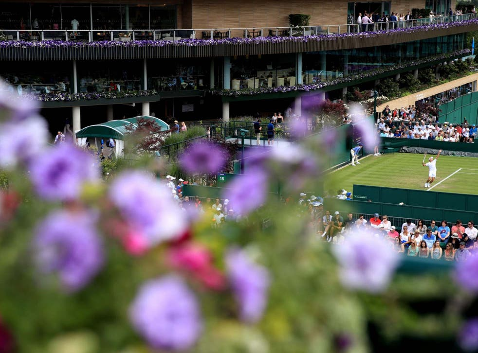 A general view of the outside courts at the All England Lawn Tennis and Croquet Club