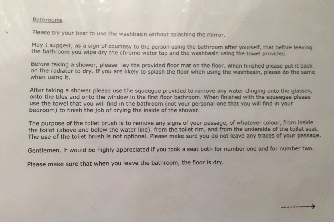 Man shares 'hilarious' list of bathroom cleanliness rules left by Airbnb host