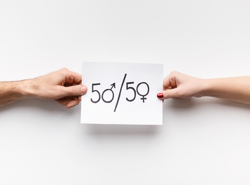 Text 50/50 written on piece of paper stock photo