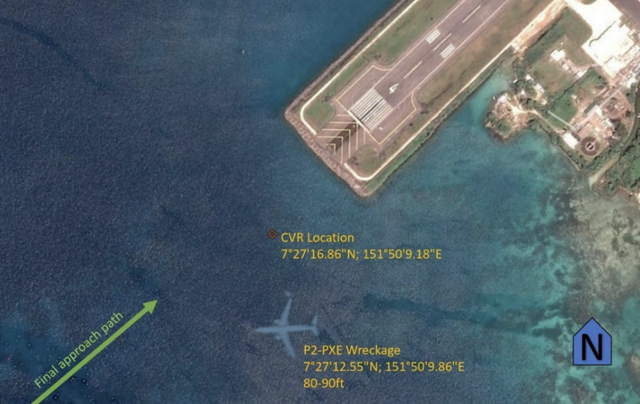 Crash site: the Boeing 737 hit the water 1,500 feet before the start of the runway