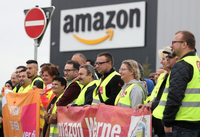 Amazon workers strike in Werne, Germany