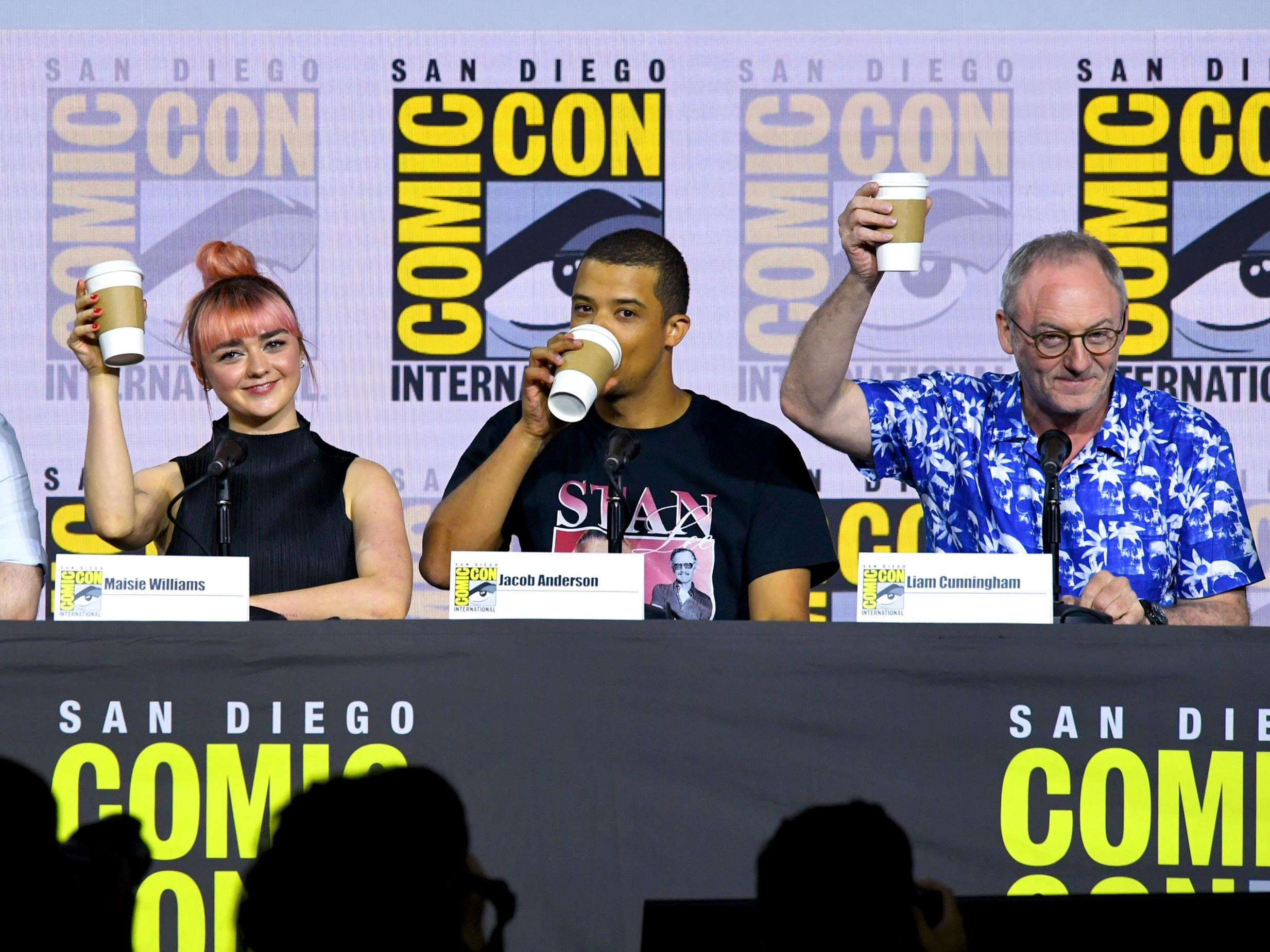Game of Thrones cast poke fun at show's coffee cup gaffe during Comi…