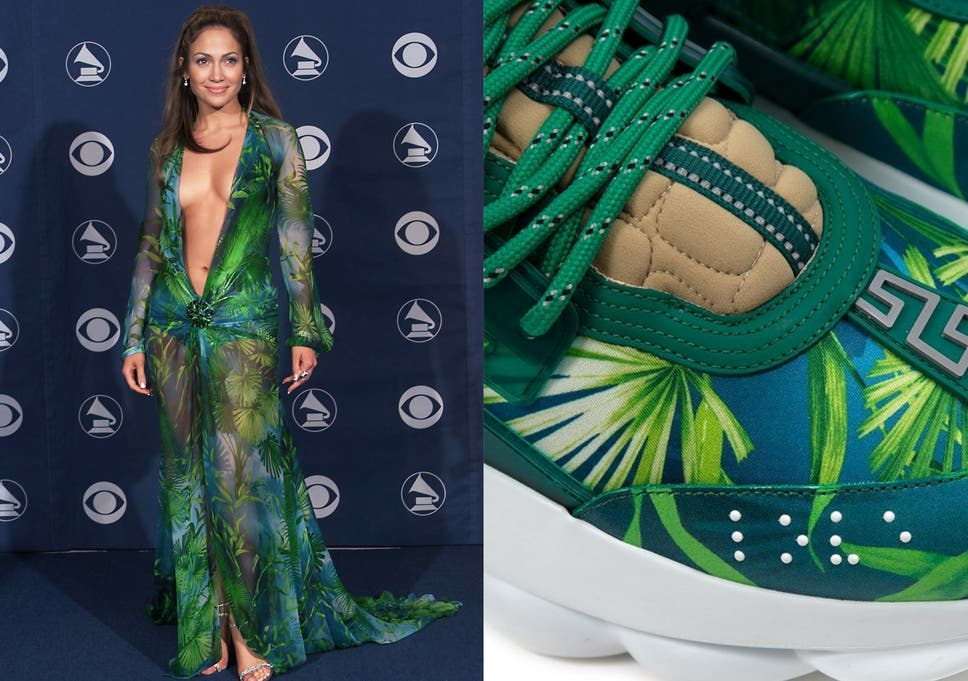 dce39d56 Trainers inspired by Jennifer Lopez's famous Versace Grammy Awards ...