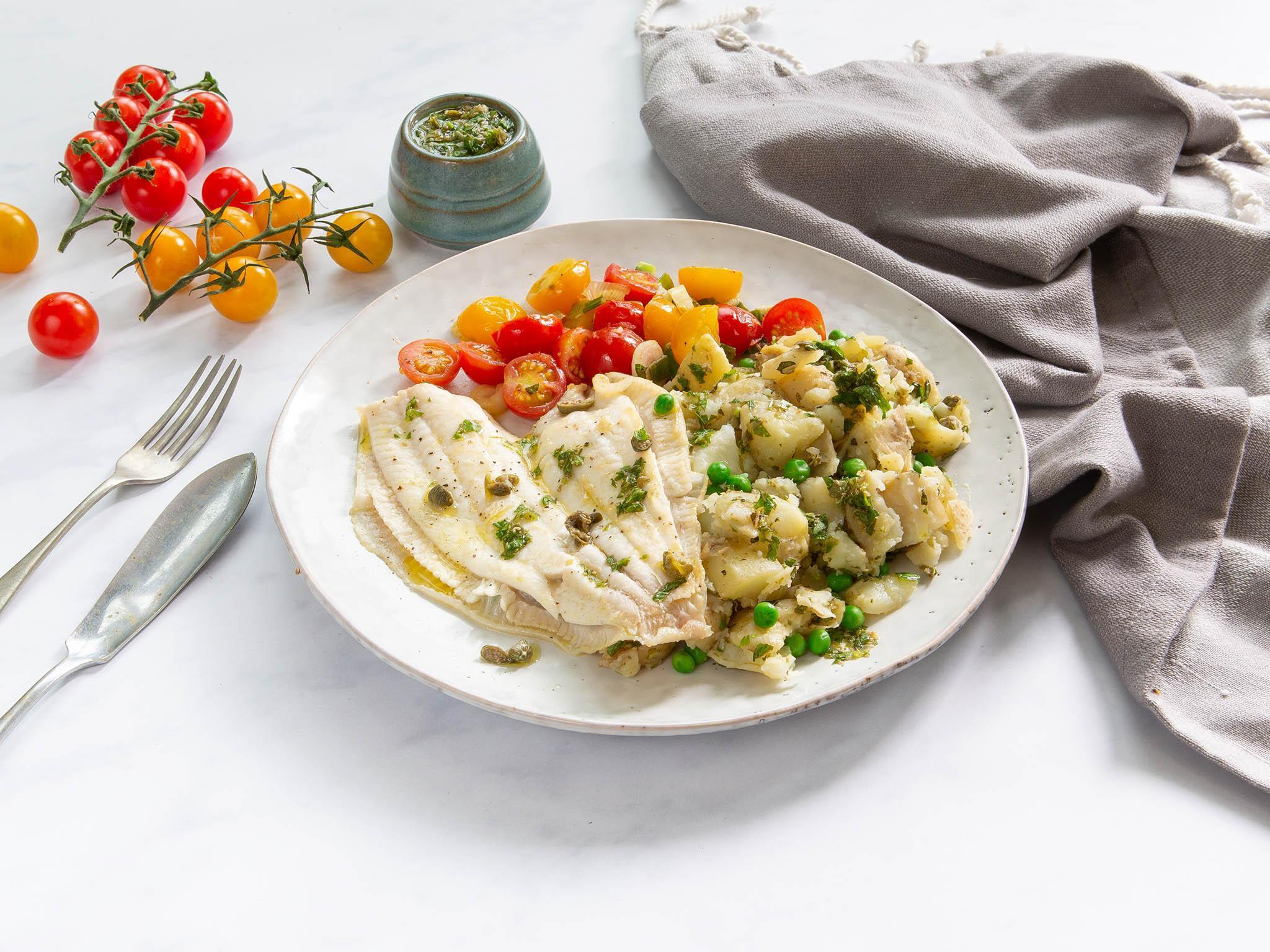 How to make lemon sole with peas, mint and crushed potatoes 1