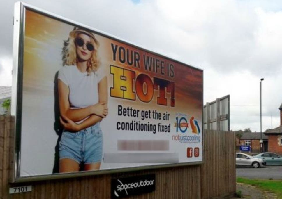 Your wife is hot' advert that was banned on buses reappears
