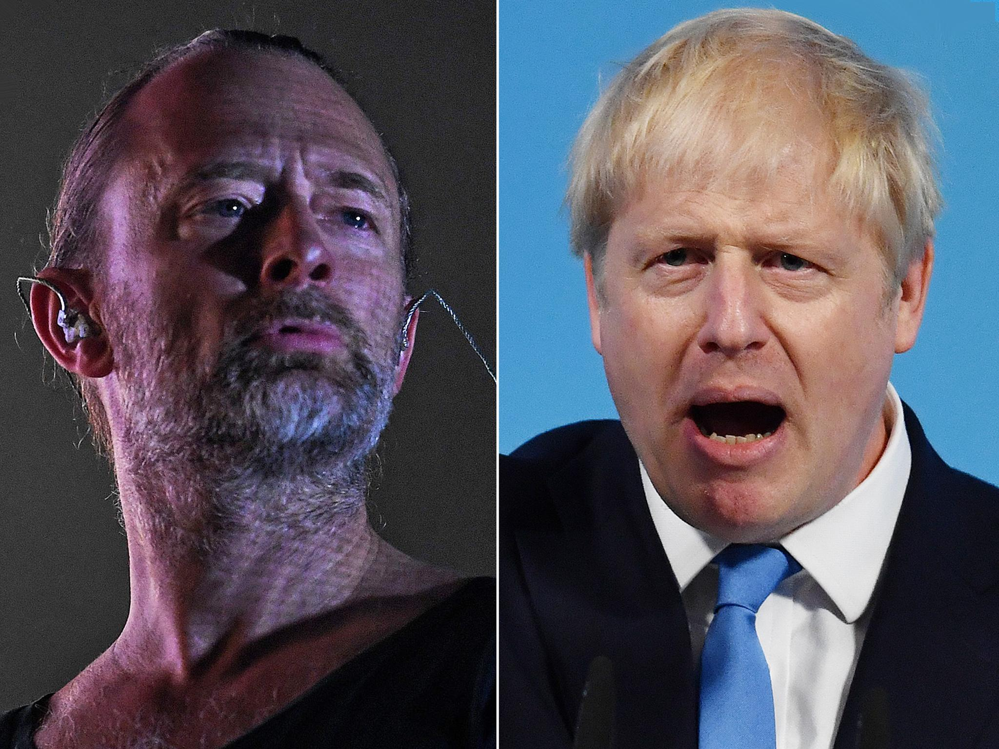 Thom Yorke leads 'F*** you Prime Minister' celebrity reactions to Boris Johnson