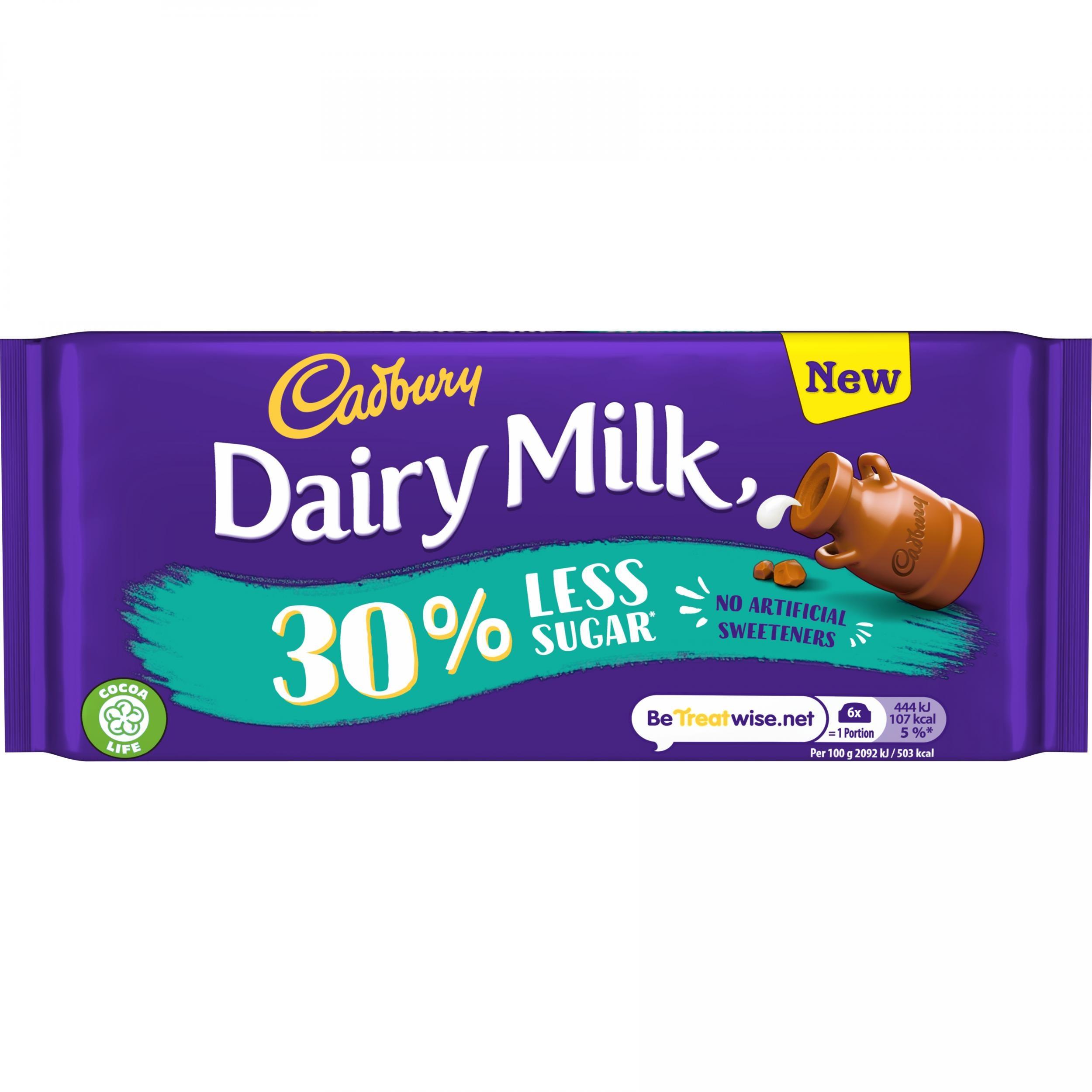 Cadbury's launches new Dairy Milk bar with 30% less sugar